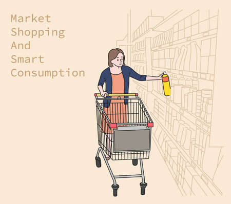 A woman choosing something in the supermarket. hand drawn style vector design illustrations.
