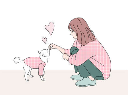 Girl and cute dog. They are wearing the same clothes. hand drawn style vector design illustrations.