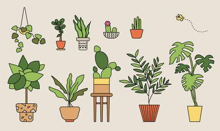 Plant pots collection. outline simple vector illustration.