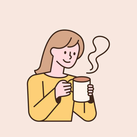 A woman is holding a hot steaming mug. flat design style minimal vector illustration. 일러스트