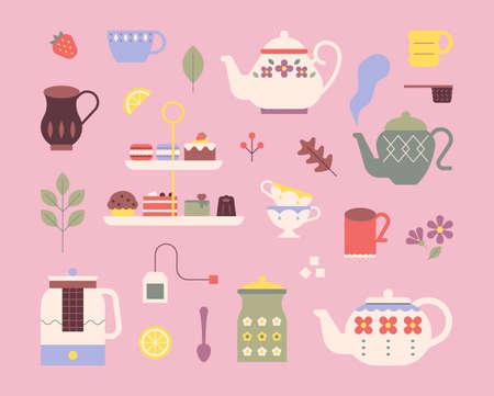 Cute tea set. Retro patterned teapots and sweet desserts. flat design style minimal vector illustration.
