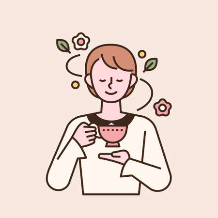 An elegant woman is drinking tea with a pretty mug in her hand. flat design style minimal vector illustration. 일러스트