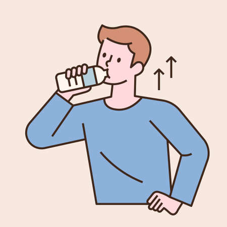 A man is drinking water from a water bottle. flat design style minimal vector illustration.