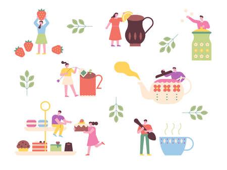 People are having tea time with giant teapots and desserts. flat design style minimal vector illustration.