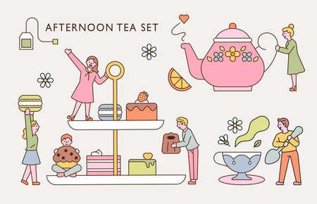 Small people are enjoying afternoon tea with a huge tea set. flat design style minimal vector illustration.