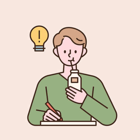 A man is studying and drinking milk with a straw. flat design style minimal vector illustration. 일러스트