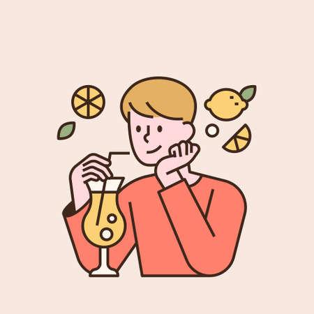 A boy is drinking lemonade. flat design style minimal vector illustration.