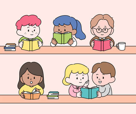 Cute characters sitting at the table and reading books. hand drawn style vector design illustrations. 일러스트