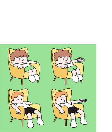 A boy sitting lazy on the sofa and watching television. hand drawn style vector design illustrations.