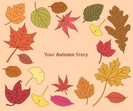 A collection of autumn leaves colored red and yellow. hand drawn style vector design illustrations. 일러스트