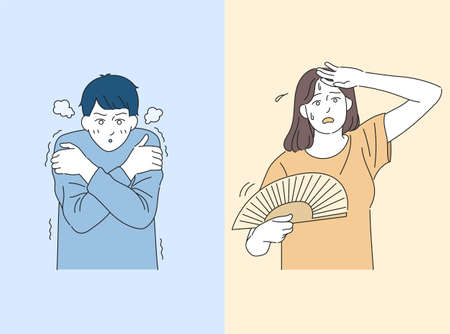 A cold man and a hot woman. hand drawn style vector design illustrations. 일러스트