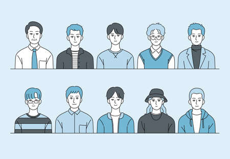 Collection of male characters in various fashion styles. hand drawn style vector design illustrations. Vetores