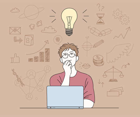 A man in glasses is thinking of an idea in front of a laptop. hand drawn style vector design illustrations.