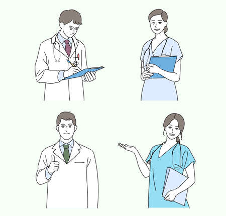 The doctors are smiling and making gestures. hand drawn style vector design illustrations. Vetores