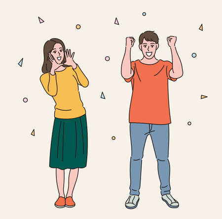 Men and women are cheering. hand drawn style vector design illustrations.