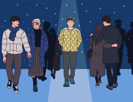 A man walking alone in a snowy night among couples. hand drawn style vector design illustrations. Vetores