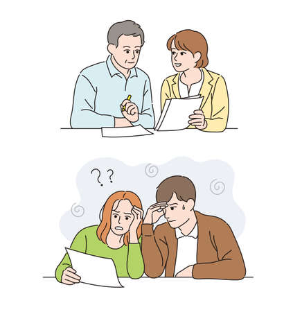 A woman who kindly explains to an older person. A man and a woman having trouble looking at the paper. hand drawn style vector design illustrations. Vetores