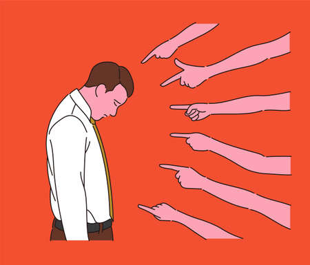 Many fingers are blaming a businessman. hand drawn style vector design illustrations.