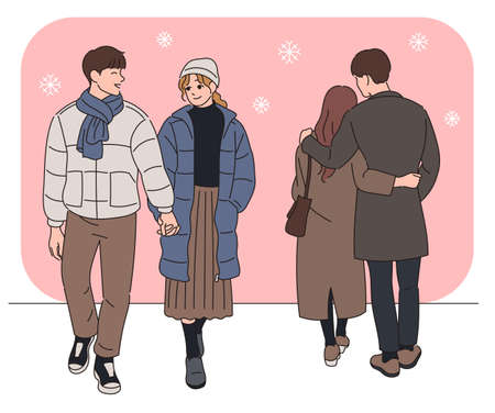 Romantic couples on snowy streets. hand drawn style vector design illustrations.