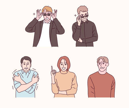 People of various gestures. People who pretend to be cool and those who don't like to look. hand drawn style vector design illustrations. Ilustración de vector
