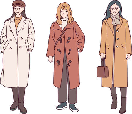 A woman wearing a casual coat. hand drawn style vector design illustrations. Vetores