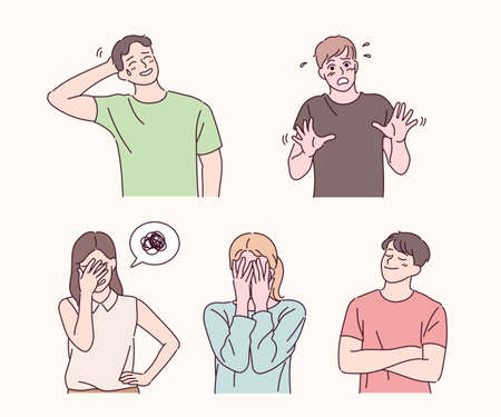 People with embarrassing expressions. hand drawn style vector design illustrations. Vetores