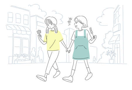 Cute girls are eating snacks on the street. hand drawn style vector design illustrations. Vector Illustratie