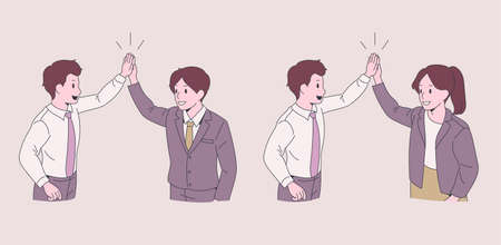 Business people doing high fives. hand drawn style vector design illustrations.
