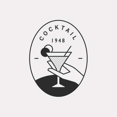 A hand holding a cocktail glass. Black color hipster design illustration.