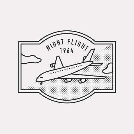 Flying airplane illustration. Black color hipster design. 일러스트