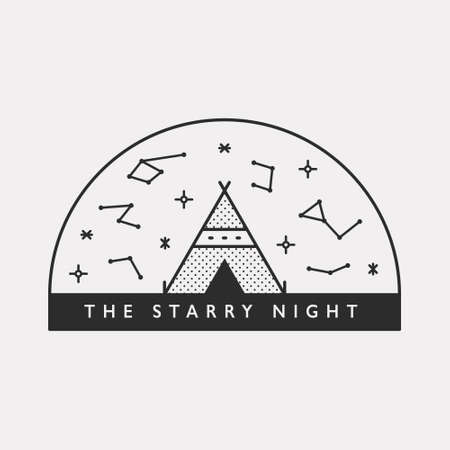 Tent outdoors and the constellations of the sky. Black color hipster design illustration. 일러스트