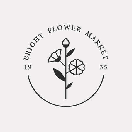 Flower shop icon with romantic flower illustration. Black color hipster design.