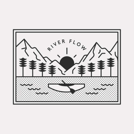 Nature landscape of high mountain range with canoe crossing the river. Black color hipster design illustration. 일러스트