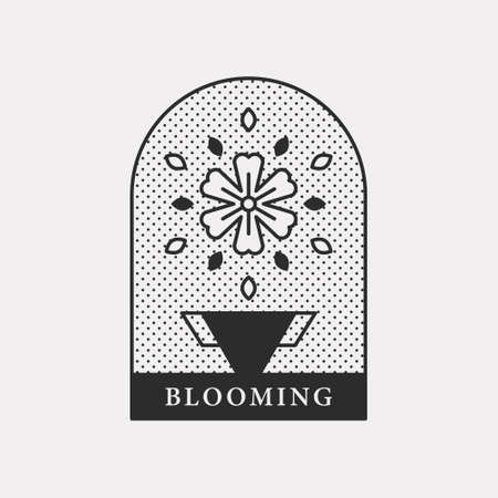 Illustration icon with vases and beautiful flowers. Black color hipster design.