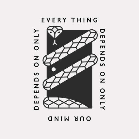 A mysterious illustration icon with a snake encircling the door. Black color hipster design.