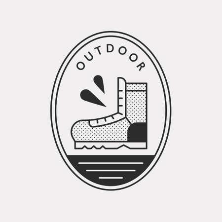 Outdoor boots walking off-road. Black color hipster design illustration icon. 일러스트