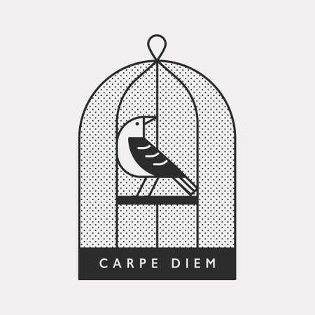 An illustration icon with a bird trapped in a cage. Black color hipster design.