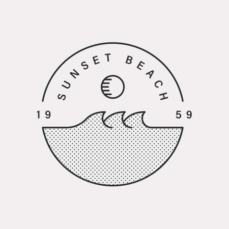 Sunset Beach. Illustration icon with waves and sun. Black color hipster design. 일러스트