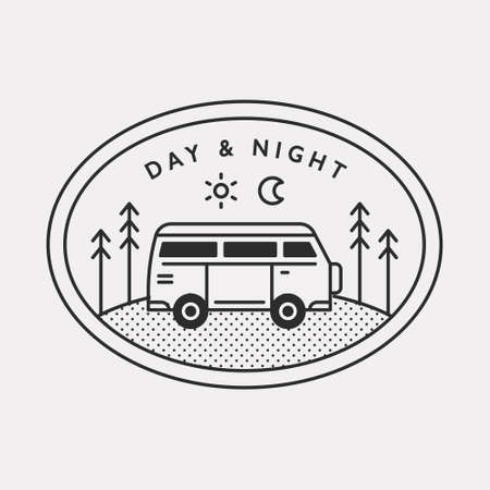 Auto camping illustration icon for traveling on a ben Black color hipster design. 일러스트