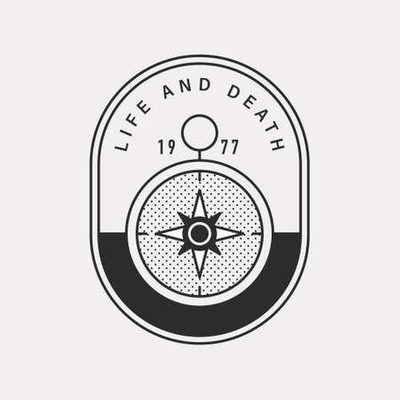 Mystical compass icon Black color hipster design.
