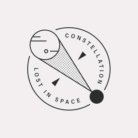 Observing the planets of the universe at one point. Black color hipster design illustration icon. 스톡 콘텐츠 - 167985928