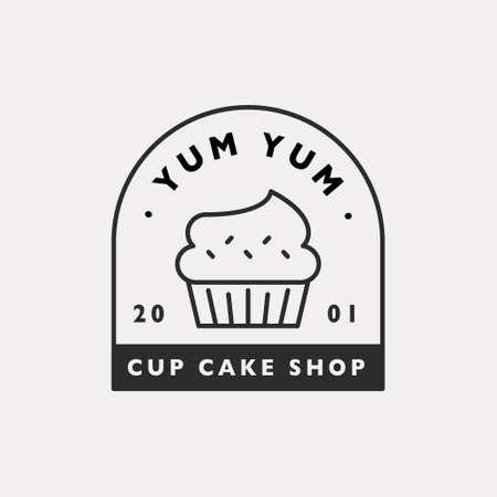 Cute cup cake shop icon. Black color hipster design. 일러스트