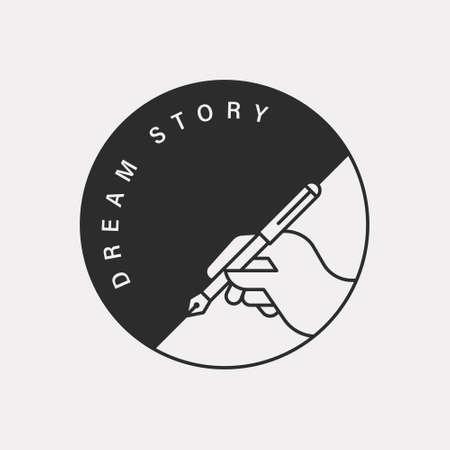Hand holding a pen illustration. Black color hipster design.