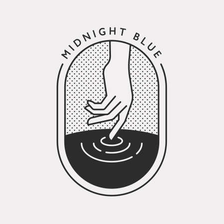 An illustration with one hand making waves on the water. Black color hipster design.
