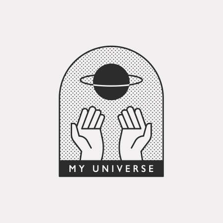 Two hands are supporting the planet. Black color hipster design illustration.