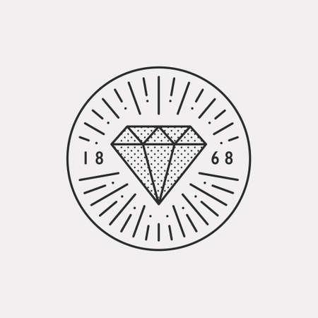 A diamond shining. Black color hipster design illustration. 일러스트