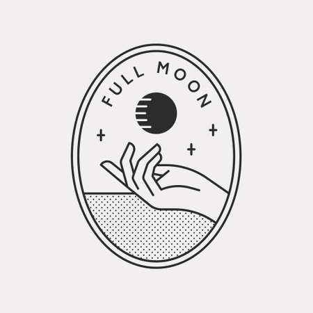 A mysterious illustration with one hand supporting the full moon. Black color hipster design illustration.