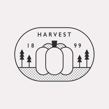 Autumn harvest season pumpkin illustration. Black color hipster design. 일러스트