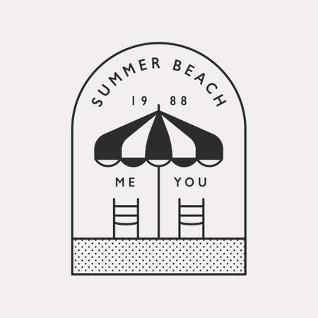 Summer beach umbrella and two beach chairs. Black color hipster design illustration.