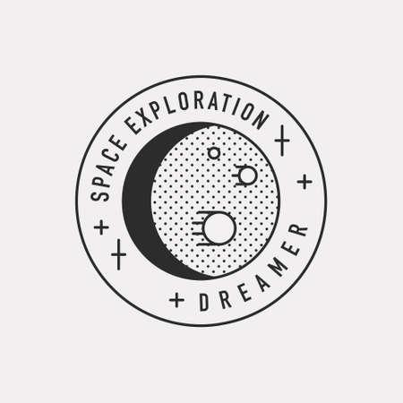 Space planet illustration. Black color hipster design.